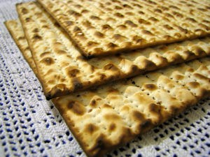 Three stacked matzahs