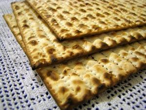 Three stacked matzahs