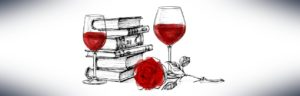 Drawing of books, wine glasses, a rose