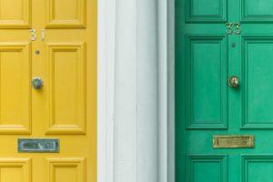 Two exterior doors