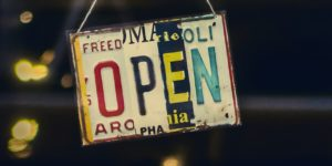 Open spelled in license plate letters