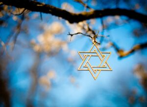 Star of David hanging on a tree